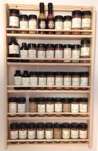 Solid OAK 5-Shelf Wood Spice Rack / 32.75