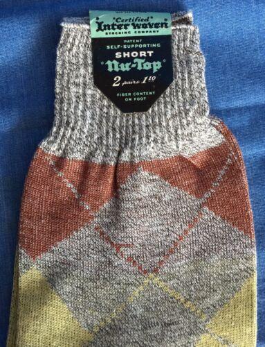 Details about  /Vintage Inter Woven Short Nu-Top Argyle Mens Socks Cotton 10 1//2 InterWoven NOS