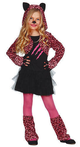 Pink Paws Leopard Girls Fancy Dress Sassy Halloween Animal Kids Costume Outfit