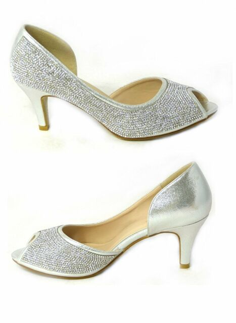 5484e7fd495 NEW WOMENS LADIES WEDDING SHOES MID HEELS DIAMANTE BRIDAL PEEP TOE SANDALS  SIZE