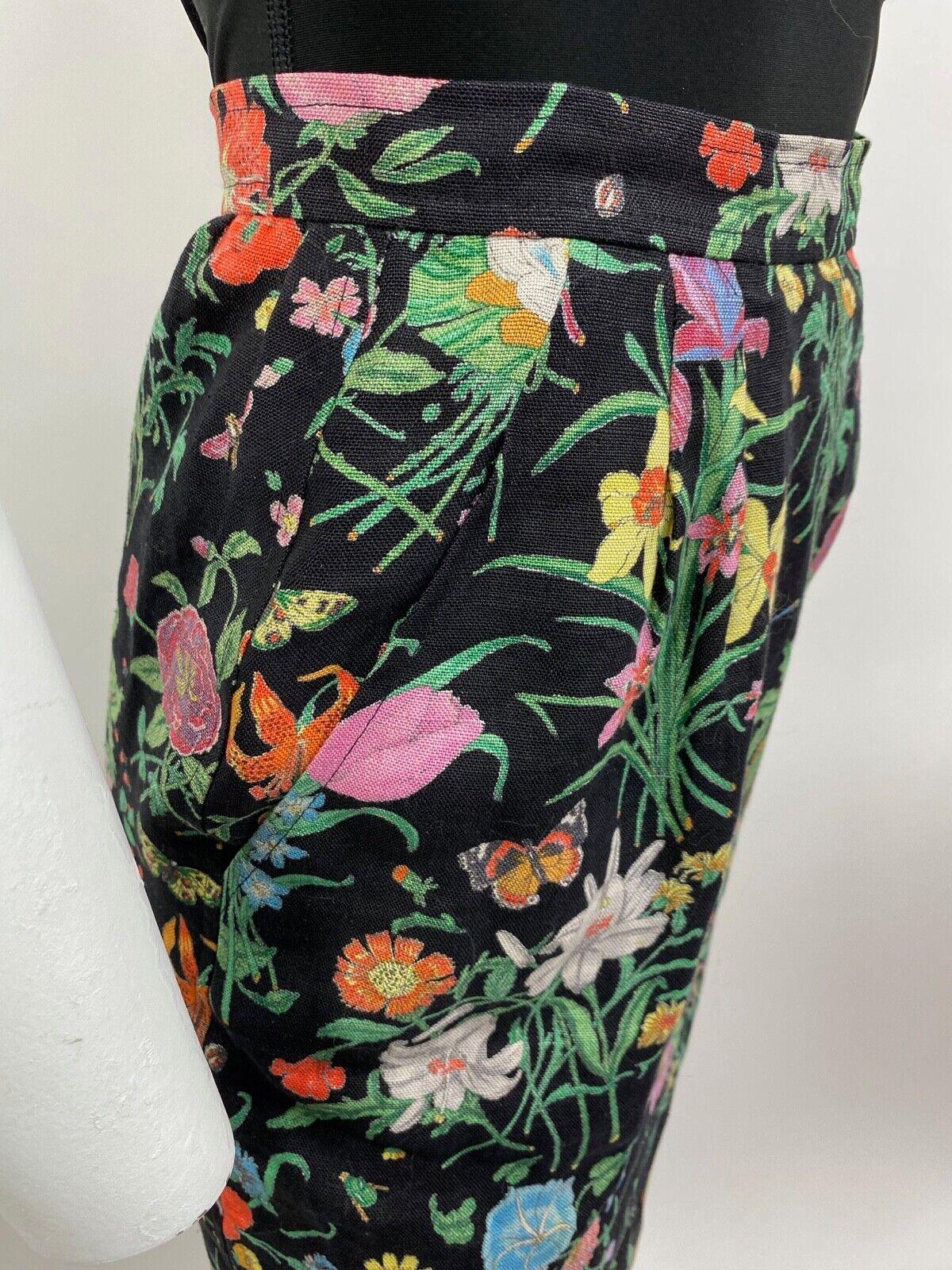 Vintage G Gucci Black Linen Floral Multicolor Ski… - image 3