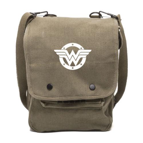 Wonder Woman Logo Canvas Crossbody Travel Map Bag Case