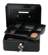 """4 """" Cash Money box, Piggy Bank, with key lock and coin slot. Black"""