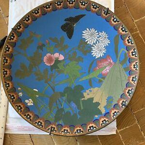 "Japanese Meiji Cloisonne 12"" Plate Charger w Butterfly, Flowers"