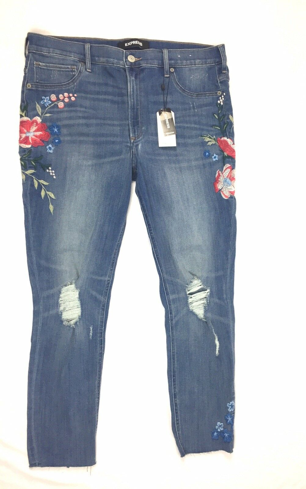 NWT Express Womens Size 16R Stretch Distressed Floral Ankle Denim Jeans MSRP  98