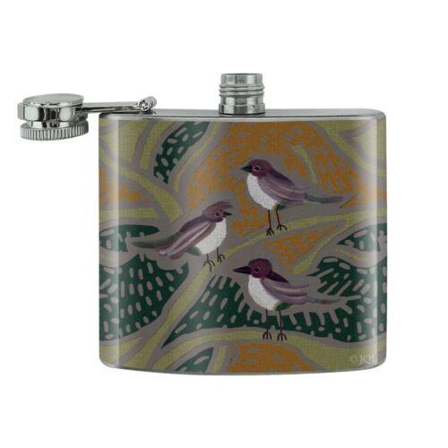 Fun Little Purple Birds Pattern Stainless Steel 5oz Hip Drink Kidney Flask