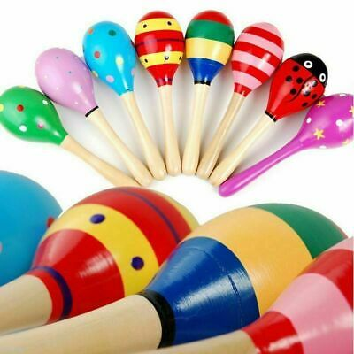 1//2//10x Colorful Wooden Maraca Baby Child Musical Instrument Rattle Shaker Toy #