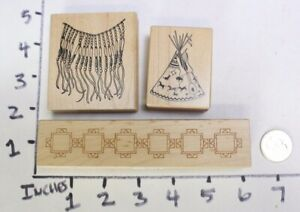 Wood-RUBBER-STAMP-Block-Lot-Southwest-Desert-Teepee-Border-Beads-Necklace