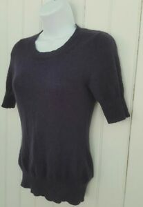 Banana-Republic-Womens-XS-Sweater-Extra-Fine-Wool-Blend-S-S-Crewneck-Plum-G24