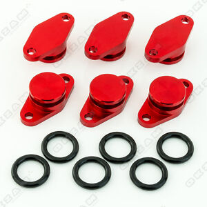 6x 22mm RED ALUMINIUM SWIRL FLAP REPLACEMENT + O-RING FOR BMW 6 SERIES 7 series