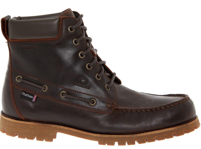 Zapatos casuales salvajes CHATHAM Bicton Alto Botas al Tobillo Para Hombre De Cuero, Marrón Oscuro Uk 9 10