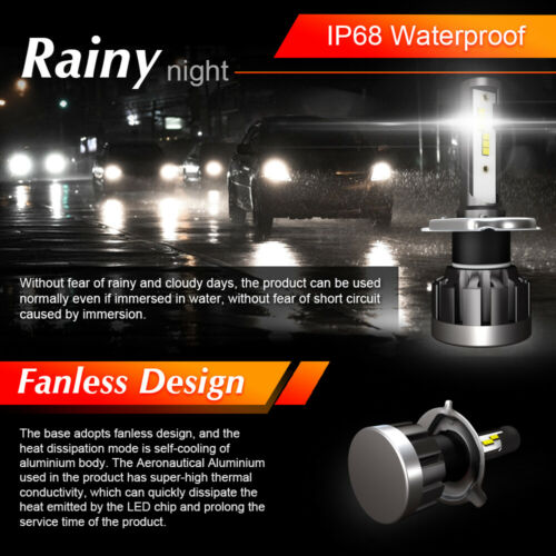 2pcs CSP H4 LED Headlight Bulb Kit 2000W 250000LM Hi-Lo Beam Xenon 6000K White