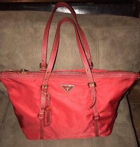 7d11255d6aae Image is loading Prada-Red-Semitracolla-Saffiano-Leather-amp-Nylon-Handbag-