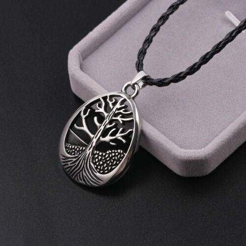 Large Celtic Tree Of Life Oval Pendant Necklace Leather Cord Silver Tone Alloy