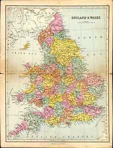 1887 Map England Wales York Lincoln Shropshire Durham Kent