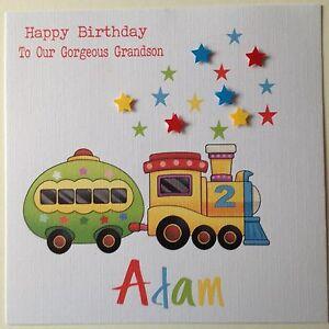 Image Is Loading PERSONALISED Handmade BIRTHDAY Card SON NEPHEW GRANDSON 1st