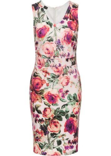 Feminines Damen Scuba-Kleid mit Blumendruck,V-Ausschnitt;Gr.34,rosé geblümt