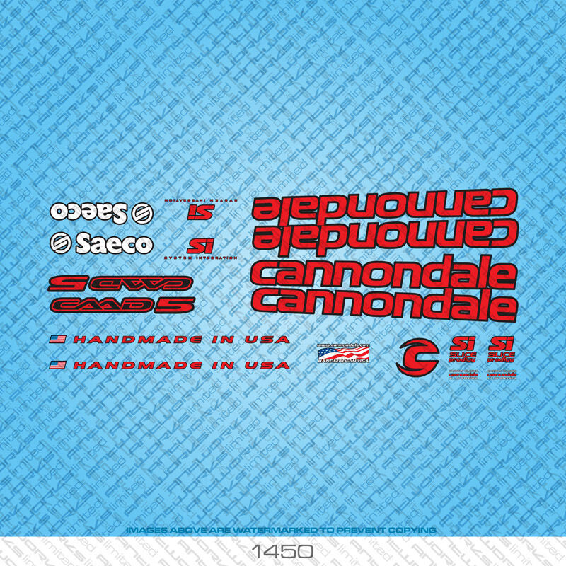 Cannondale bicyclette bicyclette bicyclette decals-transfers-autocollants-rouge & noir-set 1450 f4dc0b