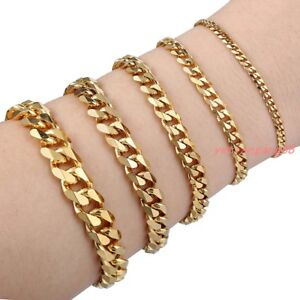 7-034-11-034-Mens-Bracelet-Stainless-Steel-Gold-Color-Curb-Cuban-Link-Chain-Jewelry