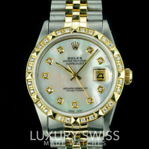 Rolex-Men-039-s-Watch-Datejust-16013-18K-Gold-36mm-MOP-Dial-Diamond-Bezel