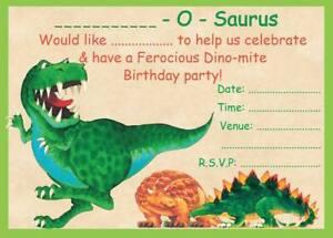 BOYS DINOSAUR THEME BIRTHDAY PARTY INVITATIONS KIDS CHILDRENS