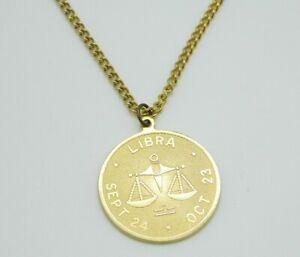 Libra-Horoscope-Zodiac-Gold-Tone-Pendant-Necklace-Vintage