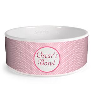 Details About Personalised Polka Dot Pattern Custom Design Dog Bowl Cat Pet Food Dinner Dish