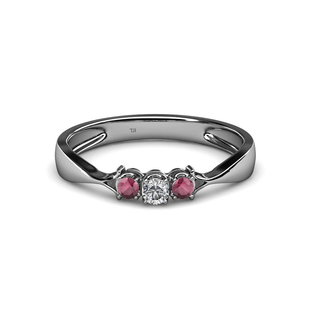 Diamond and Rhodolite Garnet Three Stone Ring 0.18 cttw in 14K gold JP 34604