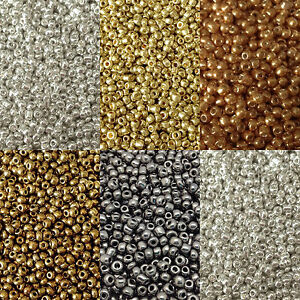 50g-glass-seed-beads-Metallic-size-11-0-approx-2mm-choice-of-colours