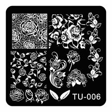 1pc Nail Art Stamping Plates Rose Flower Vine Leaf Nail Art Stamp Template TU06