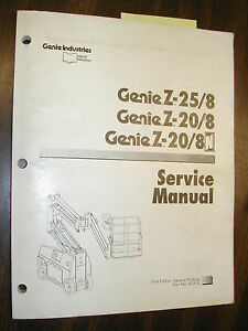 Details about Genie BOOM Z-25/8 20/8 &N SERVICE MANUAL BOOM LIFT PLATFORM  MAINTENANCE GUIDE