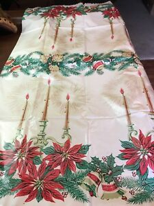 Vintage-Christmas-Holiday-Tablecloth-Candelabra-Poinsettia-Candle-Ornaments