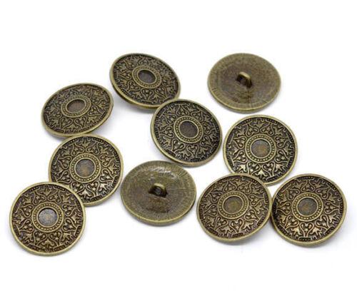 10 pieza de metal botones 25mm Antik bronce Keltic ojales botón coser ropa bricolaje