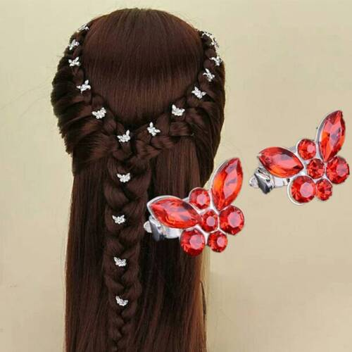 10 Pcs Women Mini Crystal Butterfly Hair Buckle Party Wedding Bride Barrette