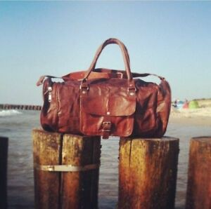 New-Men-039-s-Real-Leather-large-vintage-duffle-travel-gym-weekend-overnight-bag-25-034