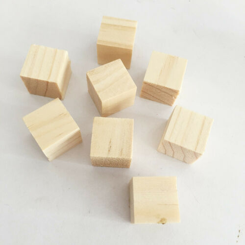 10-50pcs Wooden Square Bricks Building Blocks Mini Cubes Craft DIY Puzzle Toy X1