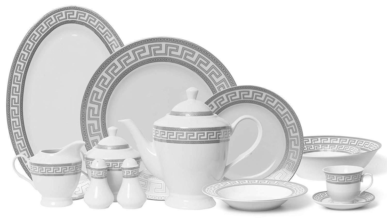 Royalty Porcelain Vintage Platinum 57-pc Dinnerware Set  Grec Clé Argent