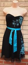 JANE NORMAN MESH BANDEAU BELTED BLUE EMBROIDERED FLORAL SKATER DRESS 6 XS