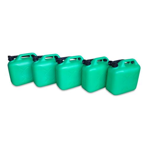 Ausgießer NEU 5 x 10 Liter Dieselkanister Benzinkanister UN-Zulassung grün inkl