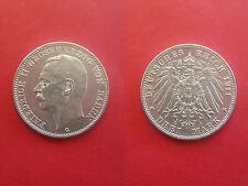 Deutsches Reich Baden drei Mark 1911 G Silber Erhaltung!