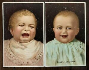 Cute-Lot-of-2-Happy-amp-Crying-Babies-Baby-Antique-PFB-Greetings-Postcards-a434