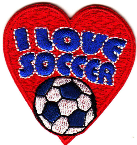 I LOVE SOCCER Iron On  Patch Soccer Sports Game