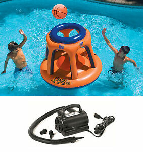 Swimline 90285 Basketball Hoop Shootball Inflatable Pool Toy + Electric Air Pump