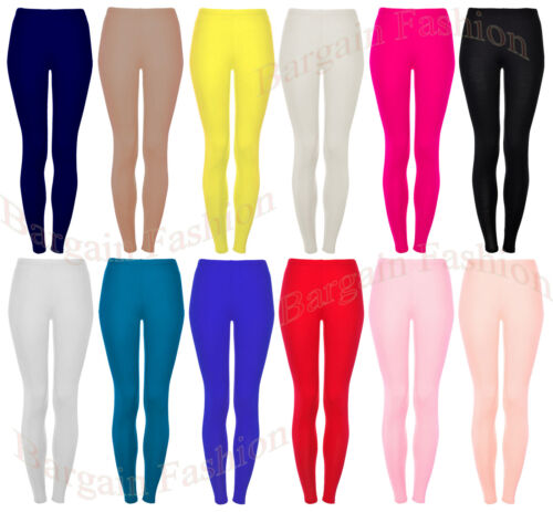 GIRLS ANKLE LENGTH STRETCH FIT VISCOSE ASSORTED COLOURS LEGGINGS 2-15 YEARS