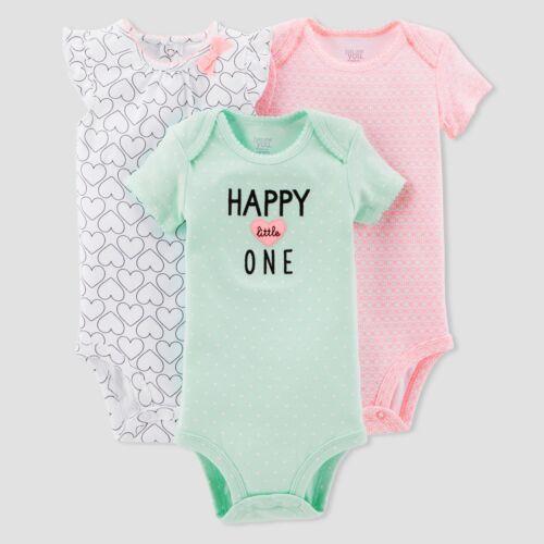 Happy Little One Hearts Baby Girl Lot of 3 Bodysuits NWT JOY 6 12 18 24