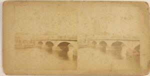 UK Londra, Old London Bridge, Foto Stereo Vintage Albumina
