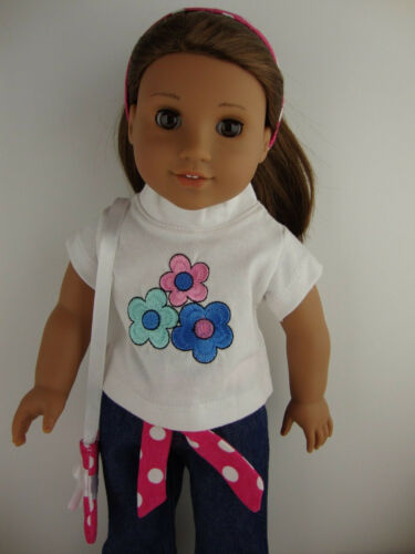 2pc Set Jeans and White T-shirt with Flowers Complete with Matching Headband