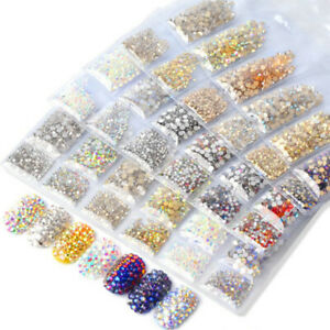 1440pcs-Rhinestones-Crystal-AB-Flat-Back-Resin-Diamante-Gems-Crafts-Nail-Art