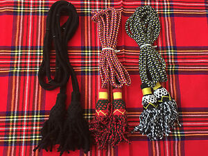 Scottish Highland Silk Bagpipe Drone Cord White And Red Bagpipe Clothing