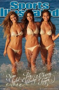 SPORTS-ILLUSTRATED-TRIPLE-GOLD-22x34-POSTER-Swimsuit-Nina-Agdal-Chrissy-Tiegen